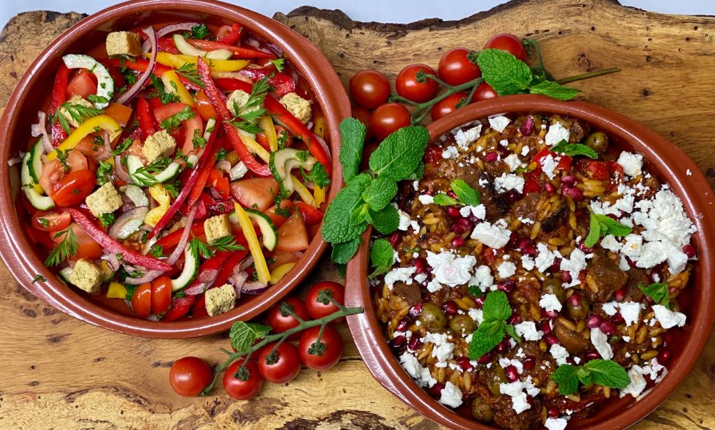 Trios Catering Menus - Dine at home - Greek Lamb Pasta Bake for 2